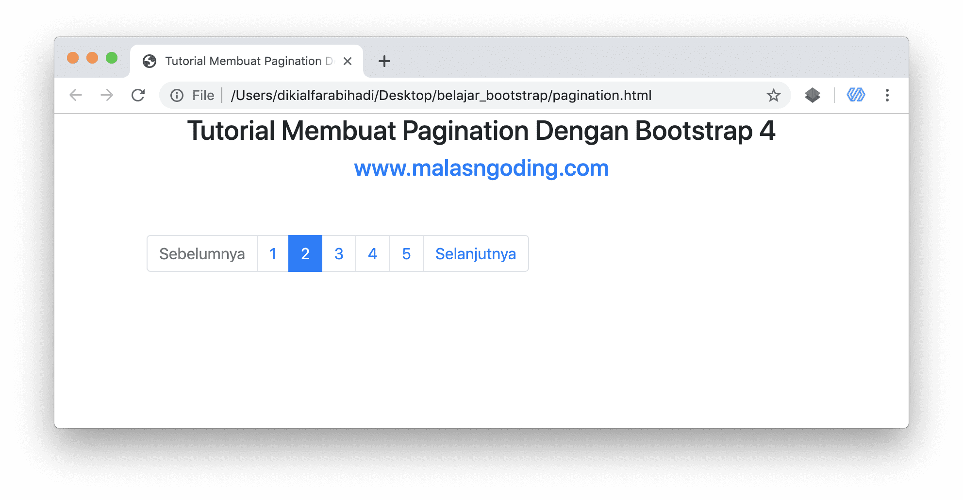 Pagination Bootstrap 4