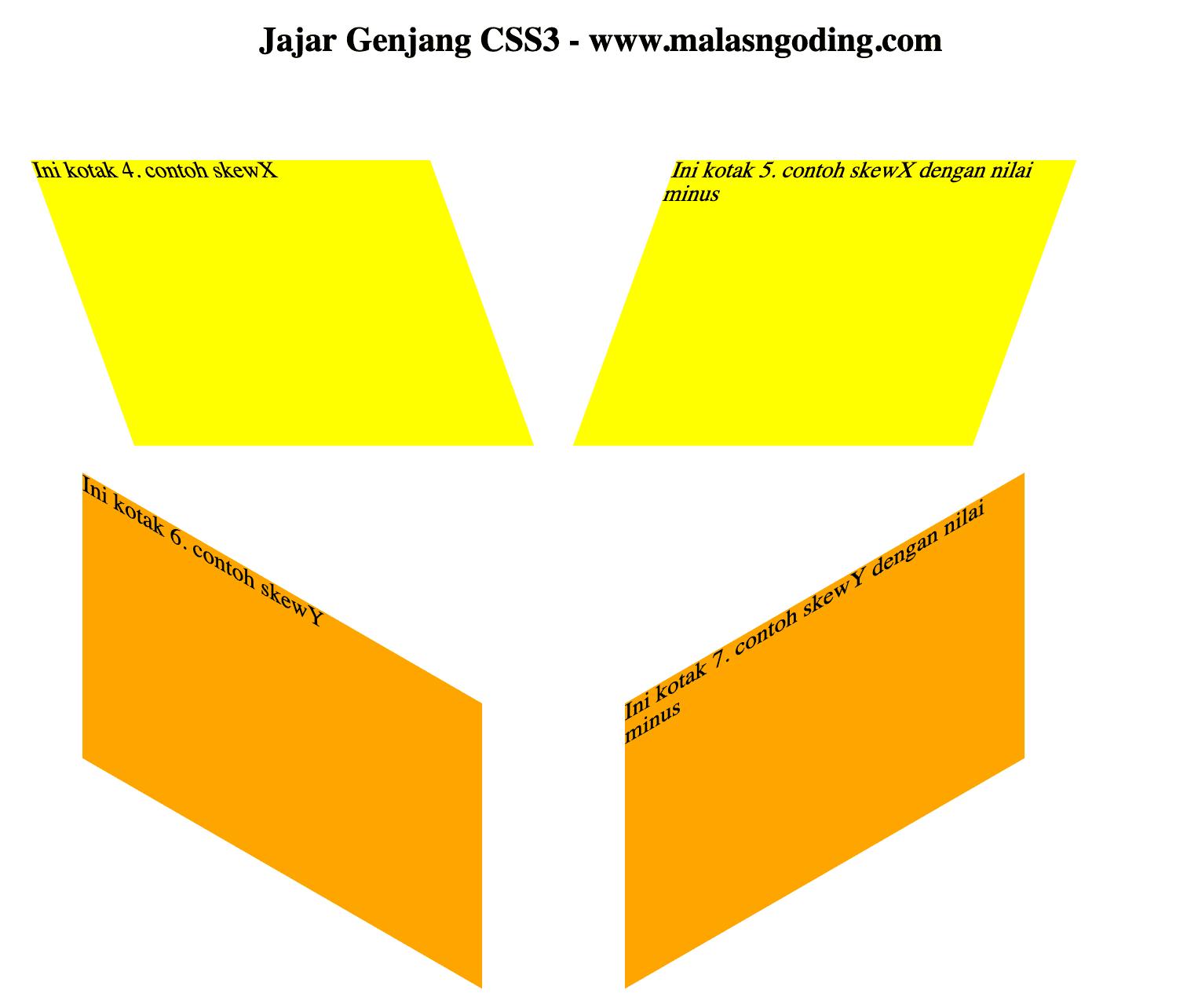 contoh skewX () dan skewY ()